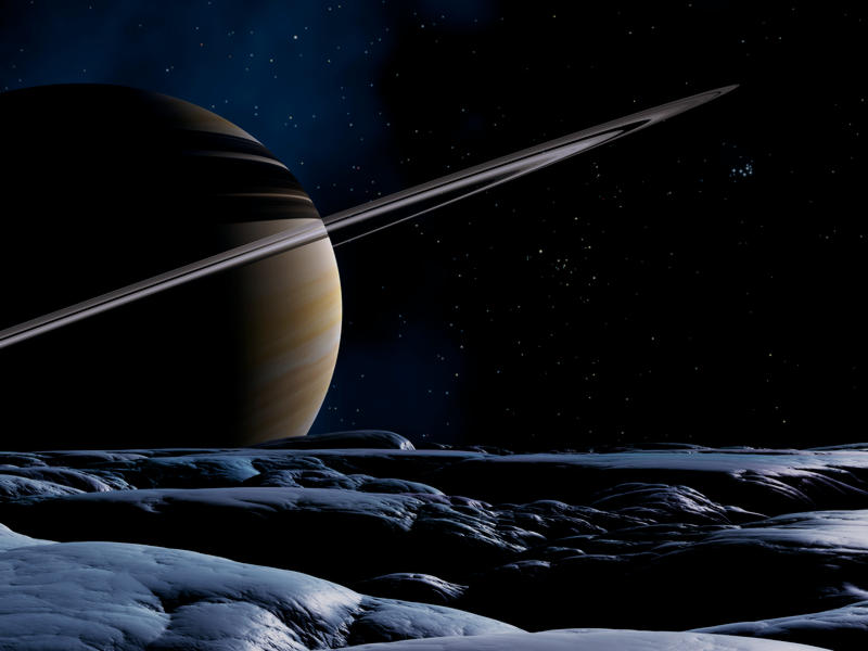 Saturn und Tethys