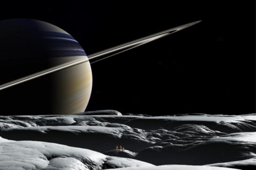 Die Landchaft stammt aus dem Space Art Bild 'Tethys EVA'